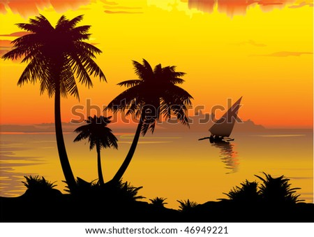 The shore of the ocean with palm trees. Vector art-illustration. - stock vector