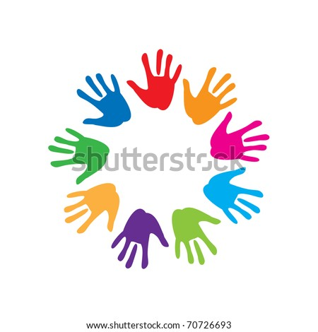 the sign of peace and friendship - colorful palm - stock vector
