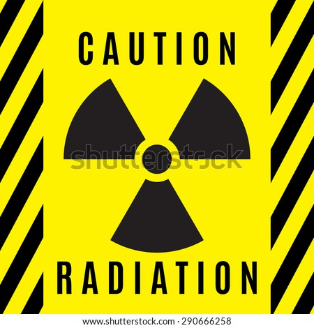 The sign of radioactive danger executed in black color and located on a yellow background.