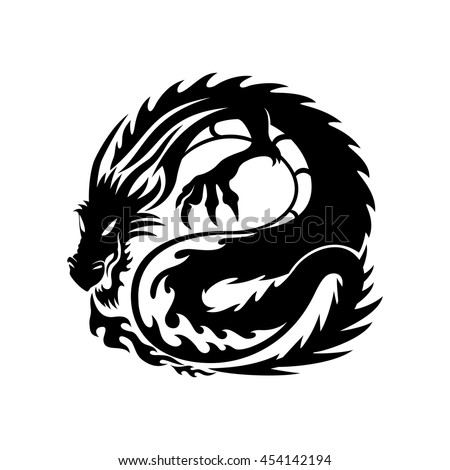 The sign of the dragon on the white background.