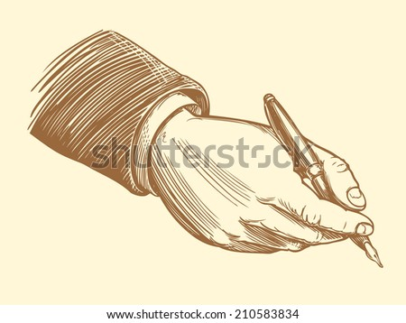 the signing of a business document commercial Director. Monochrome Engraving. Vector illustration 8 eps. - stock vector