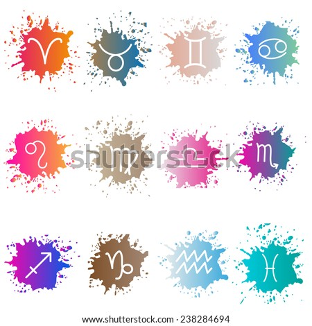 The signs of the zodiac. Set of colorful isons - stock vector