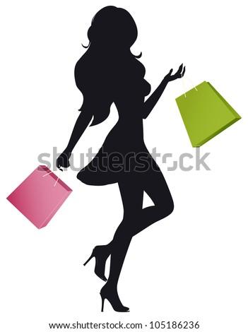 Silhouette Girl Shopping Bags Stock Vector 105186236 ...