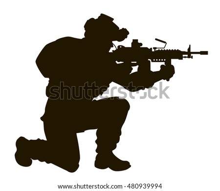the silhouette of a modern soldier with a machine gun