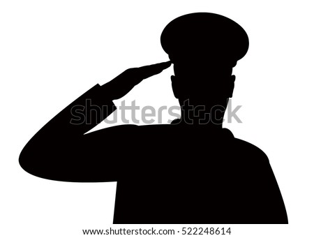 the silhouette of a soldiers military salute