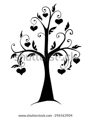 the silhouette of a tree with hearts on a white background