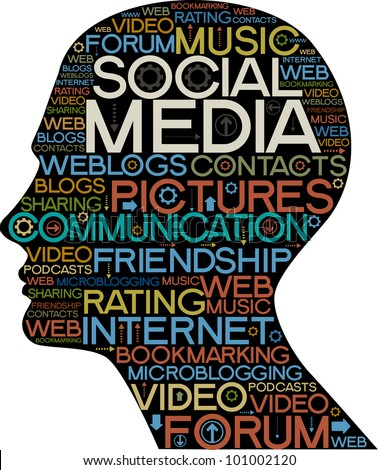 the silhouette of his head with the words on the topic of social networking - stock vector