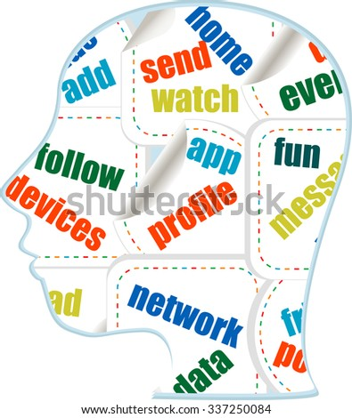 the silhouette of his head with the words on the topic of social networking vector illustration - stock vector