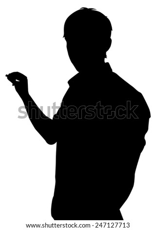 the silhouette of the guy with the chalk near Board on white background vector