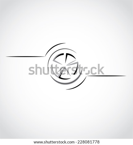 The silhouette of the wheel - stock vector