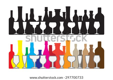 The Silhouette wine and whiskey bottle isolated on white, vector work
