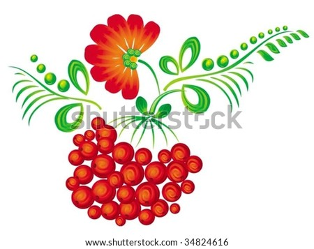 The simplified branch of a mountain ash under the Ukrainian style - stock vector