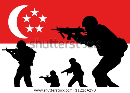 The Singapore flag and the silhouette of soldiers