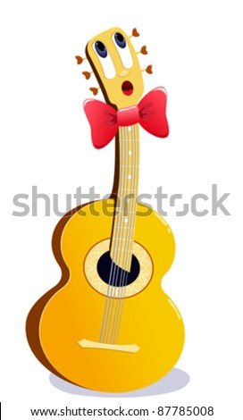The singing cartoon guitar. Vector illustration. Isolated on white. - stock vector
