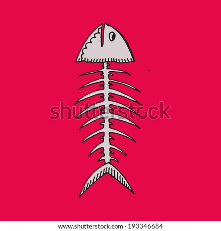 the skeleton of a fish on a pink background - stock vector