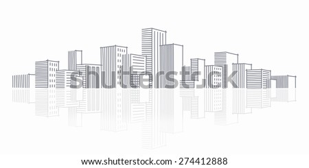 The sketch of a city skyline  - stock vector