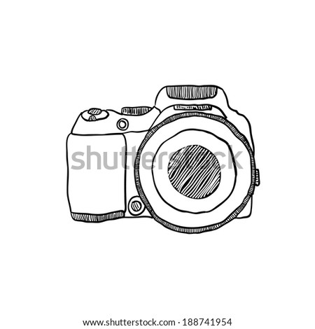 the sketch of a photo camera drawn by hand on a white background - stock vector