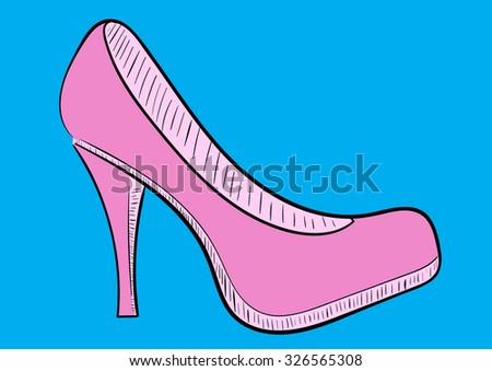 The sketch of a pink female shoe on a blue background