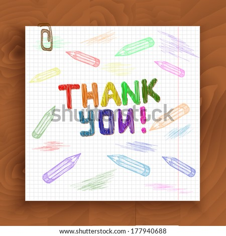 The sketch of the words Thank You. Hand-drawn with color pencils on the paper. Vector illustration, - stock vector