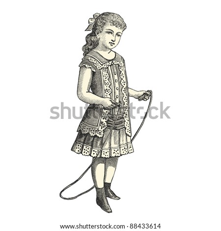 "The skipping rope - Vintage engraved illustration - ""La mode illustree"" by Firmin-Didot et Cie in 1882 France - stock vector"