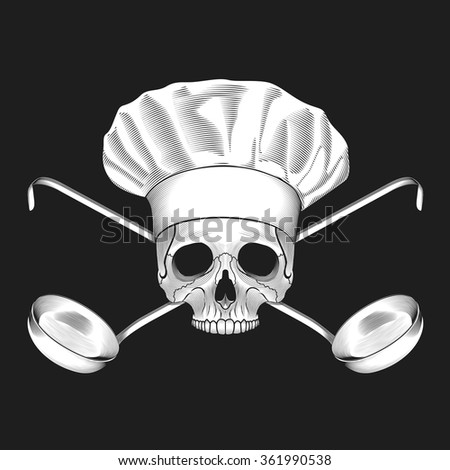 The skull in toque and crossed ladles. Vector illustration. - stock vector
