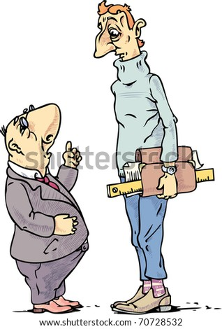 The small boss is preaching to the tall engineer. - stock vector