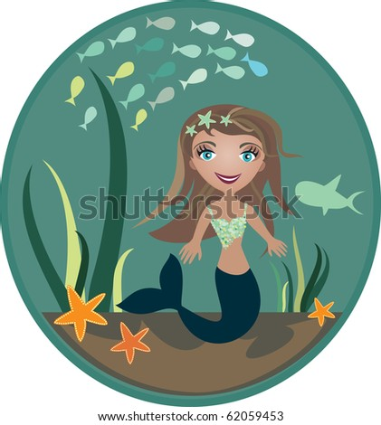 The small mermaid at the bottom of the sea  - vector illustration - stock vector
