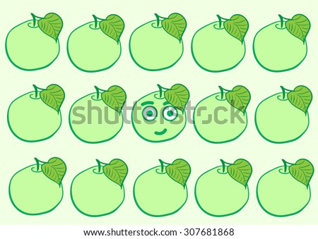 The smiling apple among the usual green - stock vector