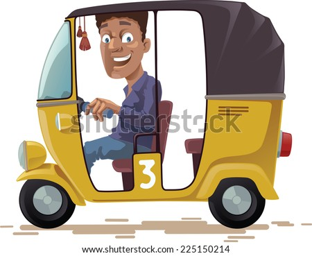 The smiling indian rickshaw is driving his three-wheeled vehicle. He is looking at camera.