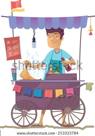 The smiling young asian cook is preparing the tasty pancake on his outdoor mobile street kitchen. He is looking at camera. The hieroglyphs in the menu are only stylization. - stock vector