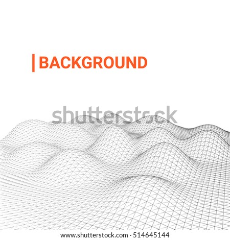 The smooth digital surfaces in modern colors on light background. Vector illustration. abstract background for technology, programming, game, brochure. Wireframe of sand dunes in the desert, seabed