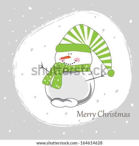 The snowball a snow falls cheerful Christmas - stock vector