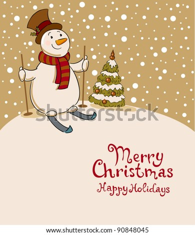 The snowman on skis, cozy retro Christmas card - stock vector
