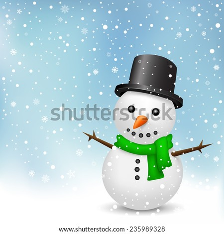 The snowman with green scarf and black hat on the snowfall background - stock vector