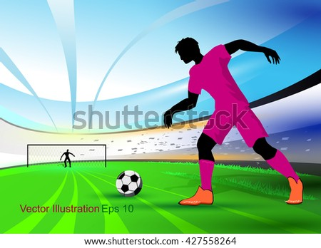 The soccer sport. The football player preparing to score the goal. The football vector background. Football cup abstract background.
