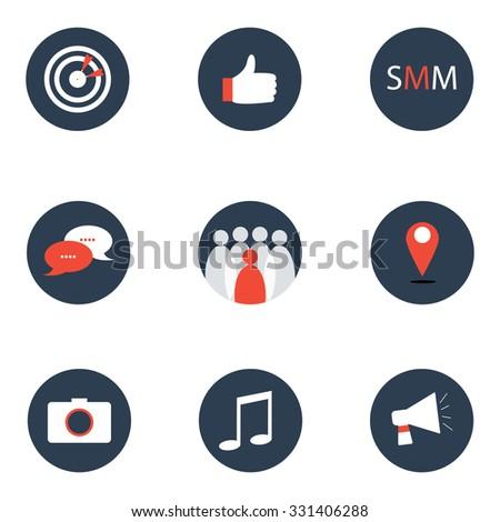the social media marketing icons - stock vector