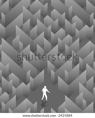 The social poster with the image of a labyrinth - stock vector
