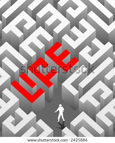 """The social poster with the image of a labyrinth as a word """"life"""". - stock vector"""