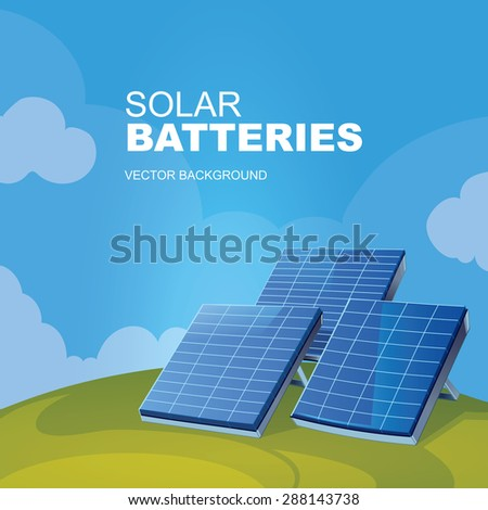 The solar battery on a green lawn. Vector background - stock vector