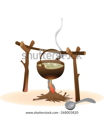 The soup is boiling in the pot over the fire - stock vector