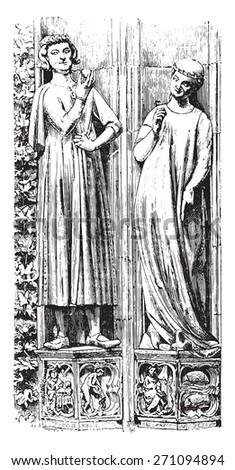 The south portal statues Strasbourg Cathedral, Late thirteenth century, vintage engraved illustration. Industrial encyclopedia E.-O. Lami - 1875.