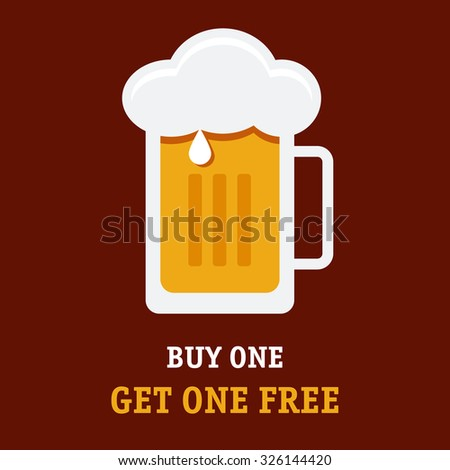 The special offer illustration with the cold tasty full glass of wheat beer on a front. Fully editable vector illustration. Perfect advertisement for bar, pubs and restaurants.