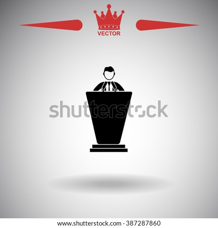 The speech icon. Speak and broadcaster, orator, presentation, conference symbol. Politician icon. Politician icon vector. Politician icon illustration. Politician icon web. Politician icon Eps10.  - stock vector