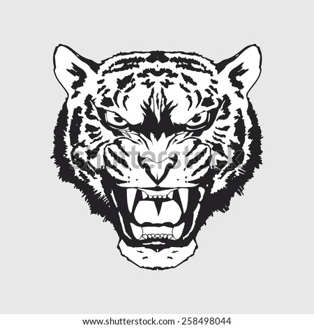 The Spirit of Tiger - monochrome - stock vector