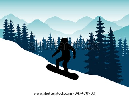 The sportsman on a snowboard down the mountain with snow mountains in the background. Winter sports in the mountains. Abstract vector silhouette of a snowboarder. Downhill snowboarder. Winter sports. - stock vector