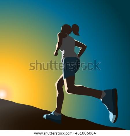 The sportswoman running up the hill. Motivating EPS10 illustration - stock vector