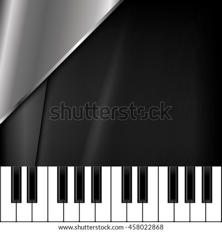 The square background with piano keys and metallic shape