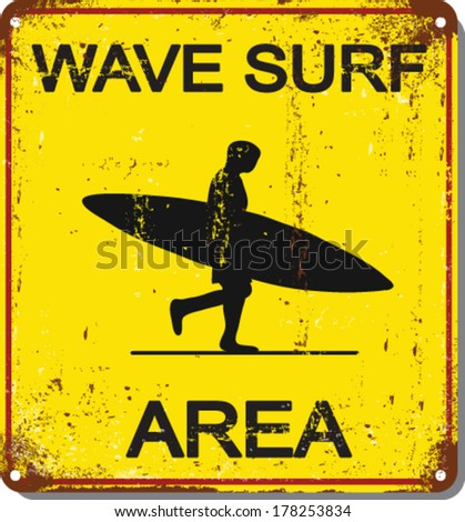 The Square Black and Yellow Warning No Lifeguard On Duty Surf At Your Own Risk Sign Isolated on White Background.shark attack vector set.metal sign - stock vector