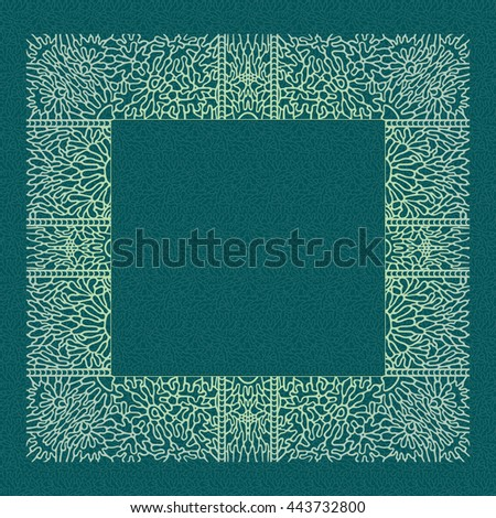 The square lace frame for design text or image to be printed on a napkin. Openwork decoration on blue-green background. Frame wide connected with each other woven element forming a rectangular shape. - stock vector