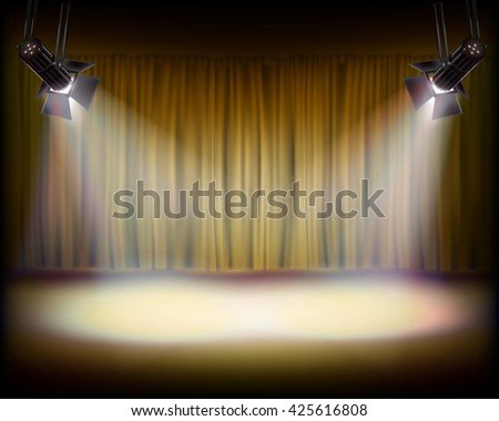 The Stage with golden curtain. Vector illustration. - stock vector